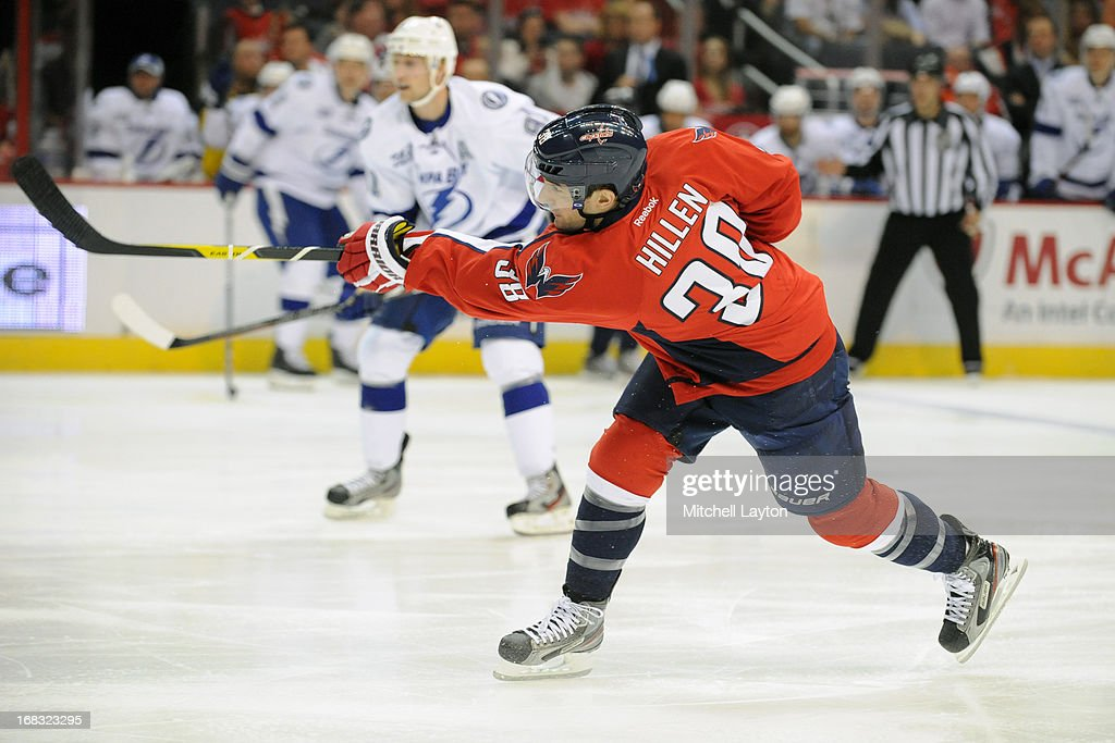 <a gi-track='captionPersonalityLinkClicked' href=/galleries/search?phrase=Jack+Hillen&family=editorial&specificpeople=5088928 ng-click='$event.stopPropagation()'>Jack Hillen</a> #30 of the Washington Capitals takes a shot during a hockey game against the Tampa Bay Lightning on April 7, 2013 at the Verizon Center in Washington, DC. The Capitals won 4-2.
