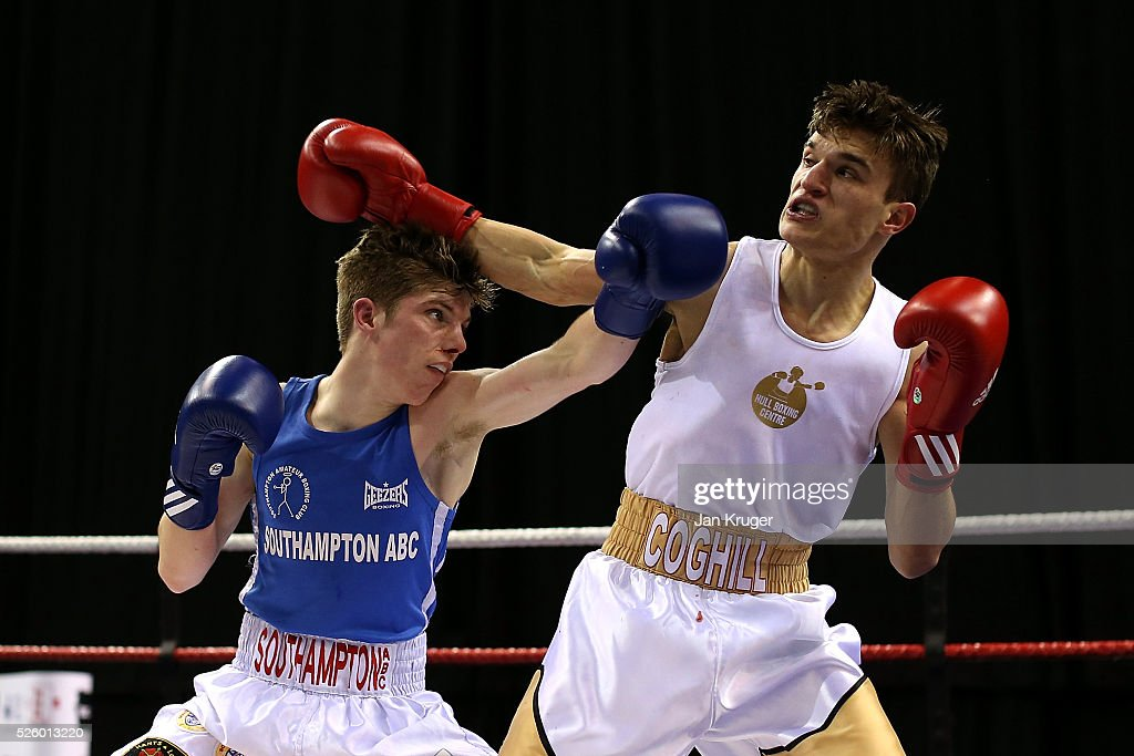 Jack Hiller (blue) in action against Connor Coghill in their 56kg fight during day one of the Boxing Elite National Championships at Echo Arena on April 29, 2016 in Liverpool, England.