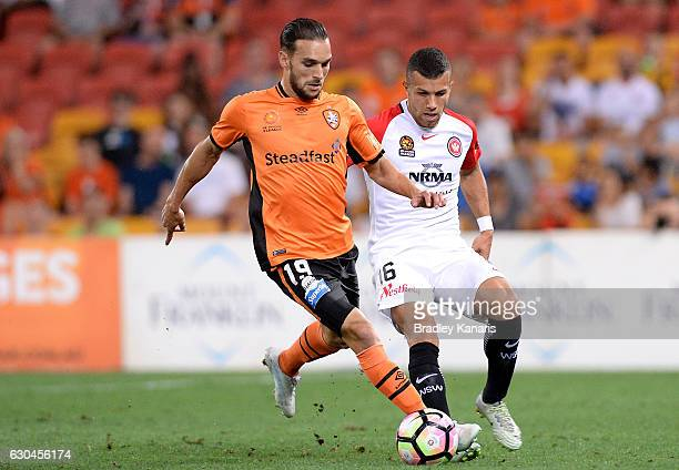 Jack Hingert of the Roar in action during the round 22 ALeague match between Brisbane Roar and Western Sydney Wanderers at Suncorp Stadium on...