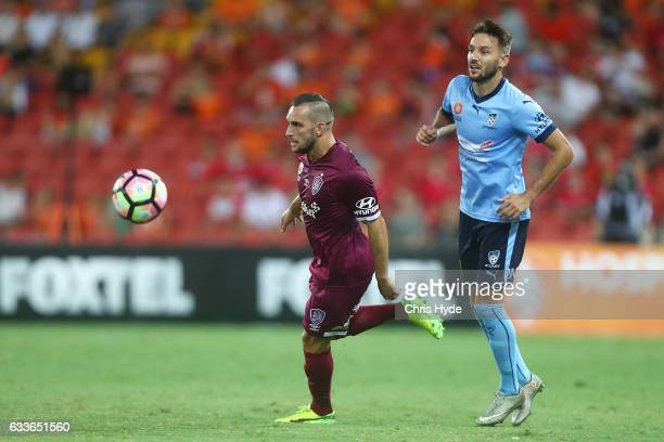 Jack Hingert of the Roar kicks during the round 18 ALeague match between the Brisbane Roar and Sydney FC at Suncorp Stadium on February 3 2017 in...