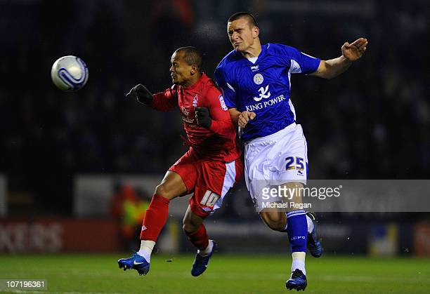 Jack Hobbs of Leicester beats Robert Earnshaw of Notts Forest to the ball during the npower Championship match between Leicester City and Nottingham...