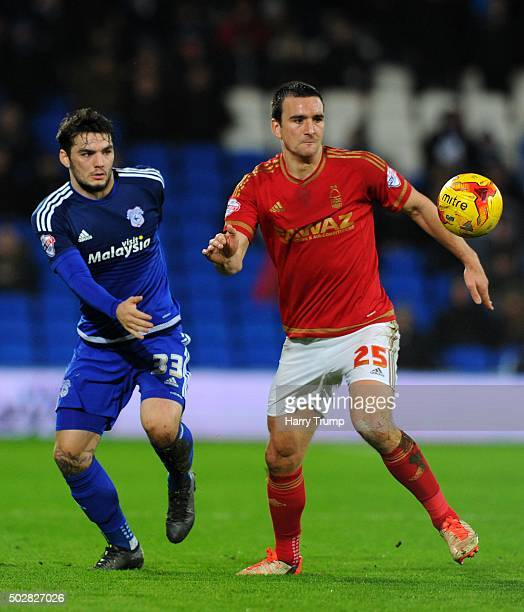 Jack Hobbs of Nottingham Forest is tackled by Tony Watt of Cardiff City during the Sky Bet Championship match between Cardiff City and Nottingham...