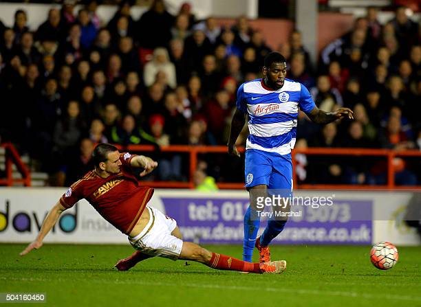 Jack Hobbs of Nottingham Forest tackles Jay EmmanuelThomas of Queens Park Rangers during The Emirates FA Cup Third Round match between Nottingham...