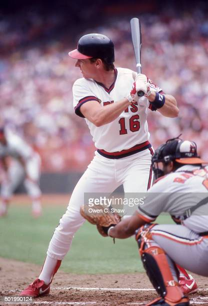 Jack Howell of the California Angels bats against the Baltimore Orioles at the Big A circa 1986 in Anaheim California