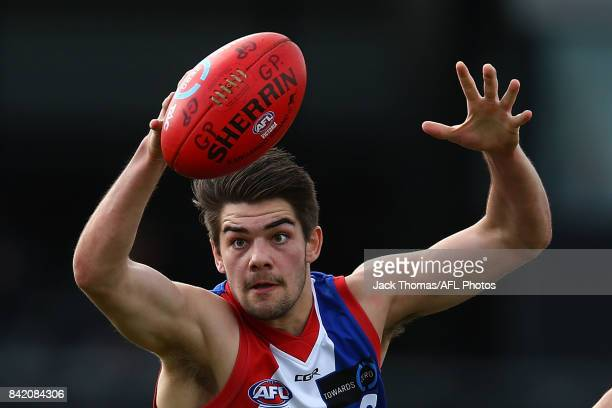 Jack Hudson of the Power controls the ball during the TAC Cup round 18 match between Gippsland and Murray at Victoria Park on September 3 2017 in...