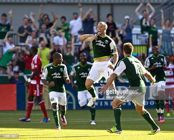 Jack Jewsbury of Portland Timbers celebrates a goal in the second half during the MLS match against FC Dallas at JeldWen Field on August 5 2012 in...