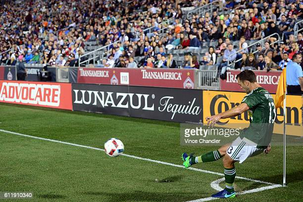 Jack Jewsbury of Portland Timbers puts the ball back in to play with a cornerkick at the midpoint of the first half The Colorado Rapids hosted the...