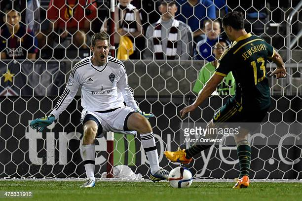 Jack Jewsbury of Portland Timbers shoots his 21 gamewinning goal on Clint Irwin of Colorado Rapids in the 90th minute during the second half of...