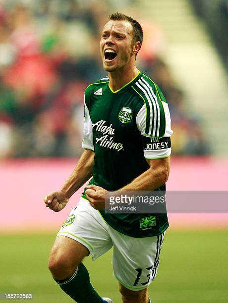 Jack Jewsbury of the Portland Timbers celebrates a goal during their MLS game against the Vancouver Whitecaps FC October 21 2012 at BC Place in...