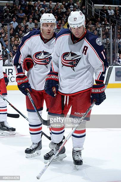 Jack Johnson and Brandon Dubinsky of the Columbus Blue Jackets talk during action against the Los Angeles Kings at STAPLES Center on November 05 2015...