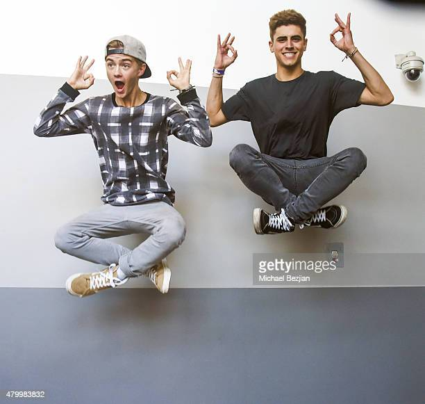 Jack Johnson and Jack Gilinsky of American poprap duo Jack Jack pose for portriat at What's Trending Presents Their #AskArtist Series at YouTube...