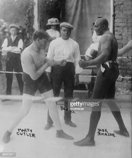 Jack Johnson Heavyweight Champion of the World in Traiing Camp and Sparring with Cutler prior to his match against Jeffries in San Francisco