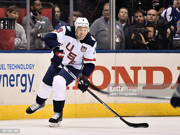Jack Johnson of Team USA stickhandles the puck against Team Europe during the World Cup of Hockey 2016 at Air Canada Centre on September 17 2016 in...