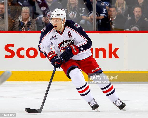 Jack Johnson of the Columbus Blue Jackets follows the play up the ice during first period action against the Winnipeg Jets on January 21 2015 at the...