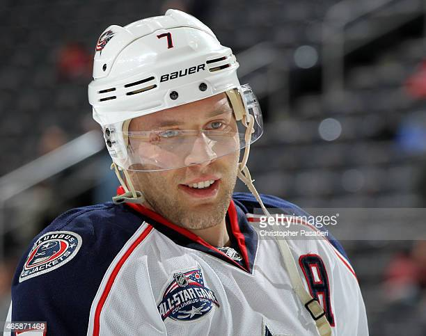 Jack Johnson of the Columbus Blue Jackets looks on prior to the game against the New Jersey Devils at the Prudential Center on March 6 2015 in Newark...
