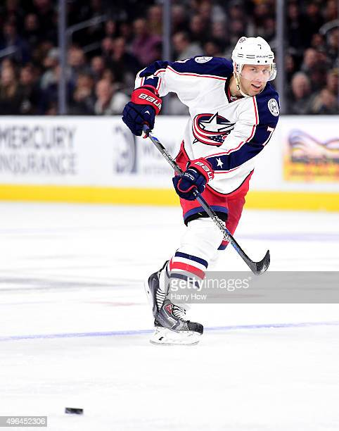 Jack Johnson of the Columbus Blue Jackets passes during the game against the Los Angeles Kings at Staples Center on November 5 2015 in Los Angeles...