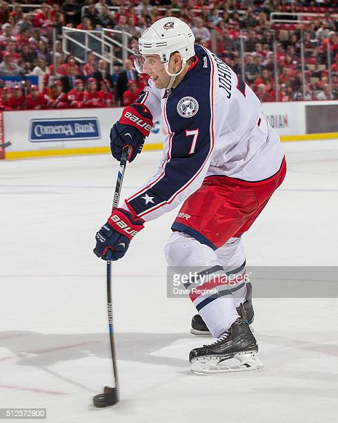 Jack Johnson of the Columbus Blue Jackets shoots the puck during an NHL game against the Detroit Red Wings at Joe Louis Arena on February 23 2016 in...