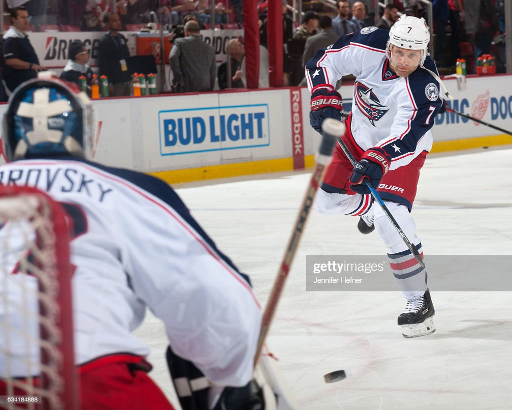 Jack Johnson #7 of the Columbus Blue Jackets shoots the puck on goalie Sergei Bobrovsky #72 during pre-game warm ups before an NHL game against the Detroit Red Wings at Joe Louis Arena on February 7, 2017 in Detroit, Michigan.