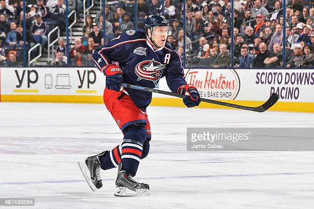 Jack Johnson of the Columbus Blue Jackets skates against the Anaheim Ducks on March 24 2015 at Nationwide Arena in Columbus Ohio