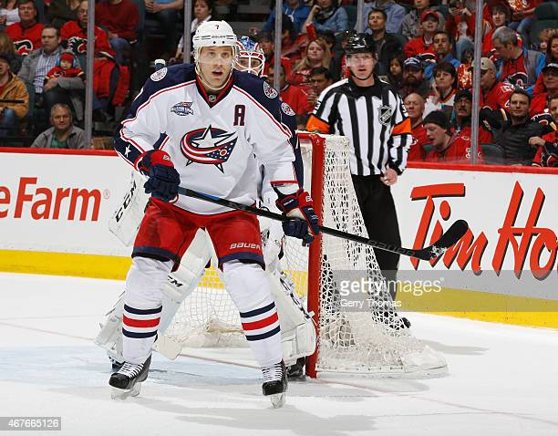 Jack Johnson of the Columbus Blue Jackets skates against the Calgary Flames at Scotiabank Saddledome on March 21 2015 in Calgary Alberta Canada
