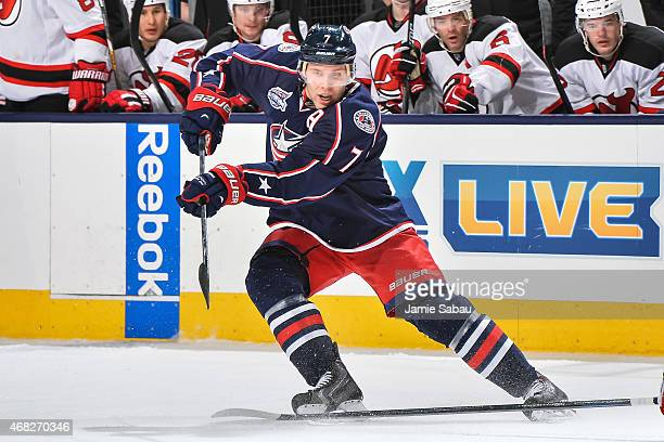 Jack Johnson of the Columbus Blue Jackets skates against the New Jersey Devils on March 31 2015 at Nationwide Arena in Columbus Ohio