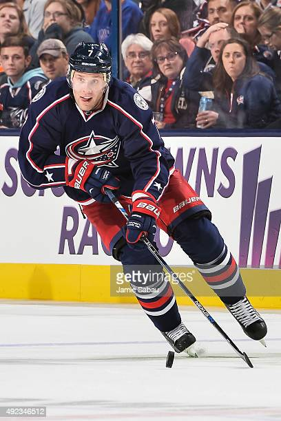 Jack Johnson of the Columbus Blue Jackets skates against the New York Rangers on October 9 2015 at Nationwide Arena in Columbus Ohio