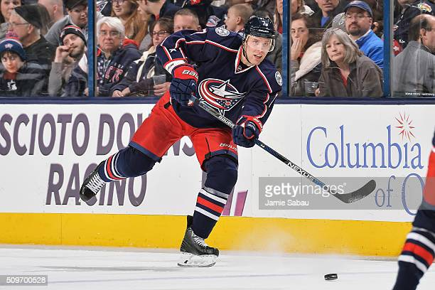 Jack Johnson of the Columbus Blue Jackets skates against the New York Islanders on February 9 2016 at Nationwide Arena in Columbus Ohio