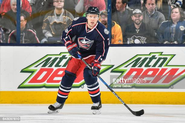 Jack Johnson of the Columbus Blue Jackets skates against the Pittsburgh Penguins on February 17 2017 at Nationwide Arena in Columbus Ohio