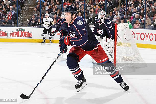 Jack Johnson of the Columbus Blue Jackets skates against the Pittsburgh Penguins on November 27 2015 at Nationwide Arena in Columbus Ohio