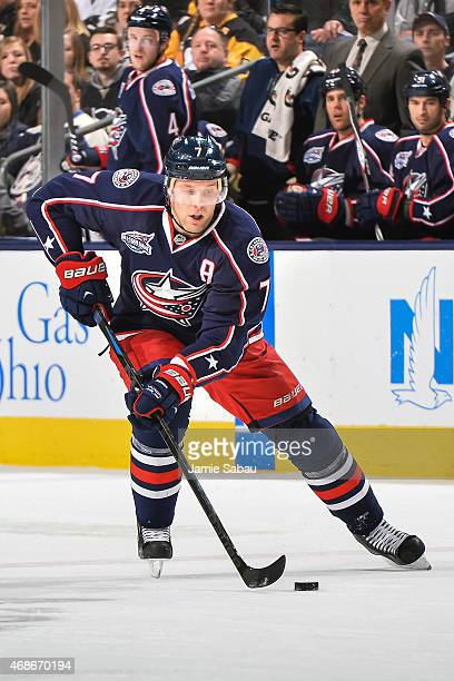 Jack Johnson of the Columbus Blue Jackets skates against the Pittsburgh Penguins on April 4 2015 at Nationwide Arena in Columbus Ohio