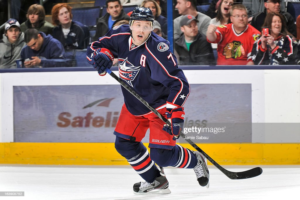 Jack Johnson #7 of the Columbus Blue Jackets skates against the Phoenix Coyotes on March 16, 2013 at Nationwide Arena in Columbus, Ohio.