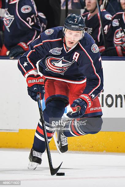 Jack Johnson of the Columbus Blue Jackets skates against the Toronto Maple Leafs on April 8 2015 at Nationwide Arena in Columbus Ohio