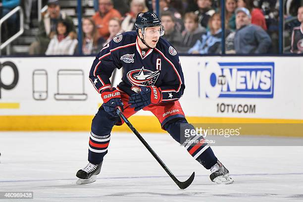 Jack Johnson of the Columbus Blue Jackets skates against the Minnesota Wild on December 31 2014 at Nationwide Arena in Columbus Ohio Columbus...