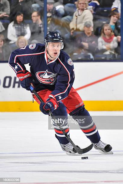 Jack Johnson of the Columbus Blue Jackets skates with the puck against the St Louis Blues on January 31 2013 at Nationwide Arena in Columbus Ohio St...