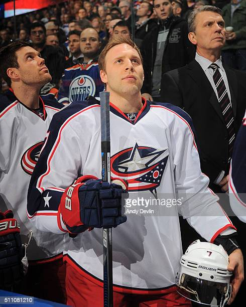 Jack Johnson of the Columbus Blue Jackets stands for the singing of the national anthem prior to a game against the Edmonton Oilers on February 2...