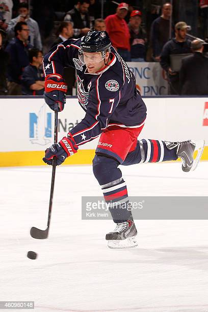 Jack Johnson of the Columbus Blue Jackets warms up prior to the start of the game against the Boston Bruins on December 27 2014 at Nationwide Arena...