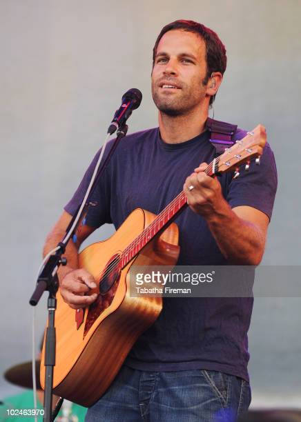 Jack Johnson performs on the Pyramid stage on the last day of Glastonbury Festival at Worthy Farm on June 27 2010 in Glastonbury England