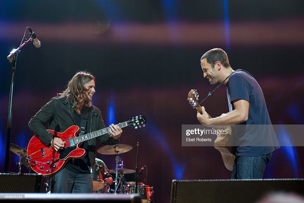 Jack Johnson performs with Lukas Nelson at Farm Aid 2013 at the Saratoga Performing Arts Center in Saratoga Springs New York on September 21 2013