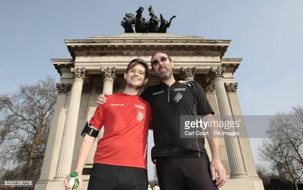 Jack Jones and his American team mate Chris Cuddihy in front of the Wellington Arch in Hyde Park Corner after completing the 777 Ultra Marathon...