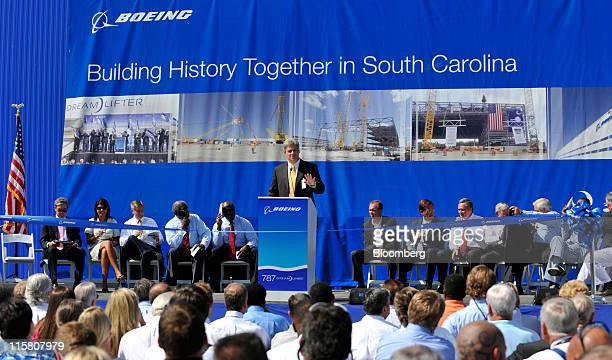 Jack Jones vicepresident and general manager for Boeing South Carolina speaks during a ribboncutting ceremony at Boeing Co's new 787 Dreamliner final...