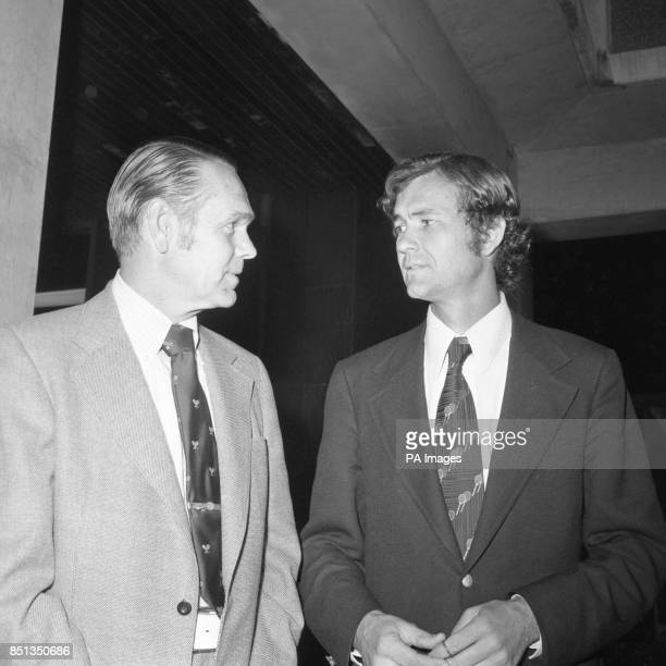 Jack Kramer and Cliff Drysdale members of the the Executive Board of the Association of Tennis Professionals at the ministry of the Environment in...