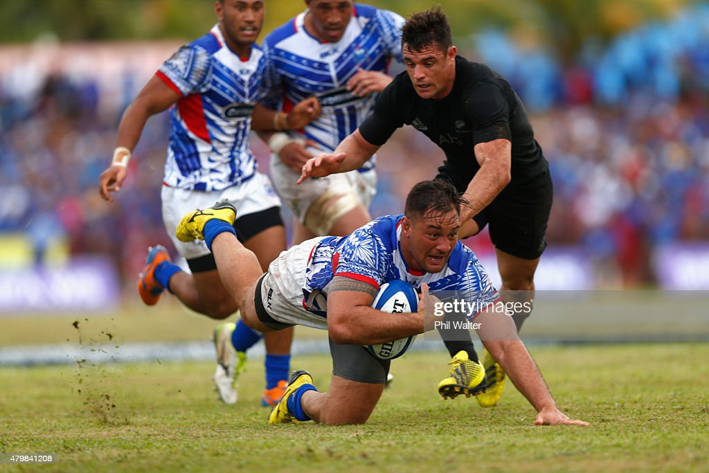 Jack Lam of Manu Samoa goes to ground during the International Test match between Samoa and the New Zealand All Blacks at Apia Stadium on July 8 2015...