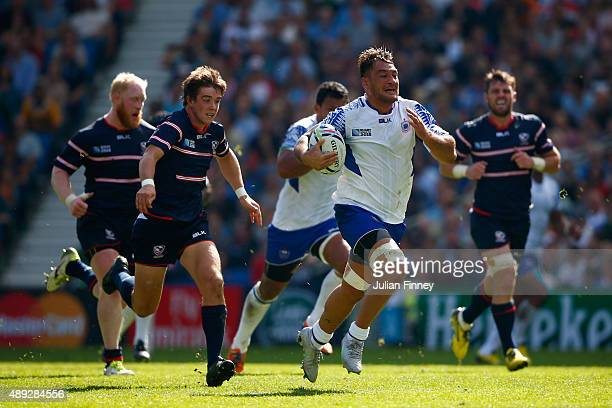 Jack Lam of Samoa makes a break during the 2015 Rugby World Cup Pool B match between Samoa and USA at Brighton Community Stadium on September 20 2015...
