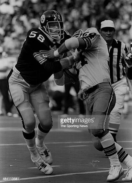 Jack Lambert of the Pittsburgh Steelers is blocked circa 1970s