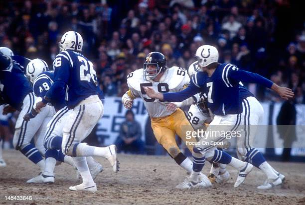 Jack Lambert of the Pittsburgh Steelers pursues the play against the Baltimore Colts during the NFL/AFC Conference playoff game at Memorial Stadium...