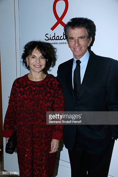 Jack Lang and his wife Monique attend the Sidaction Gala Dinner 2017 Haute Couture Spring Summer 2017 show as part of Paris Fashion Week on January...