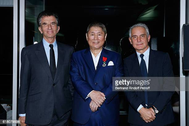 Jack lang Artist Takeshi Kitan and General Director of the Cartier Foundation Herve Chandes attend Takeshi Kitano receives the French Legion of Honor...