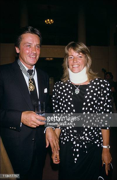 Jack Lang Decorated Alain Delon The Medal Of Letters Arts And On May 26th 1986 In ParisFrance
