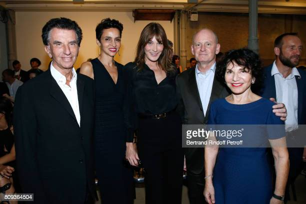 Jack Lang Farida Khelfa Seydoux Carla BruniSarkozy Mayor of 4th District of Paris Christophe Girard and Monique Lang attend the Azzedine Alaia...