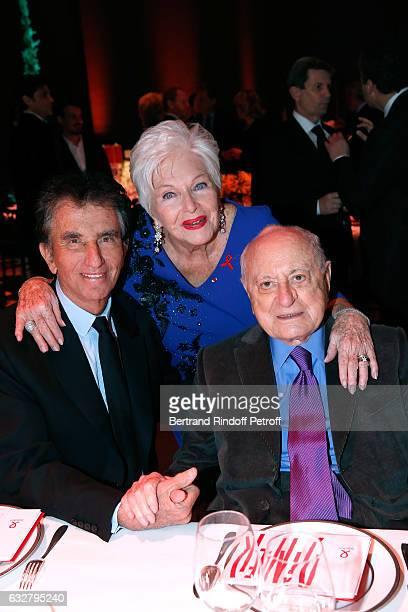 Jack Lang Line Renaud and Pierre Berge attend the Sidaction Gala Dinner 2017 Haute Couture Spring Summer 2017 show as part of Paris Fashion Week on...